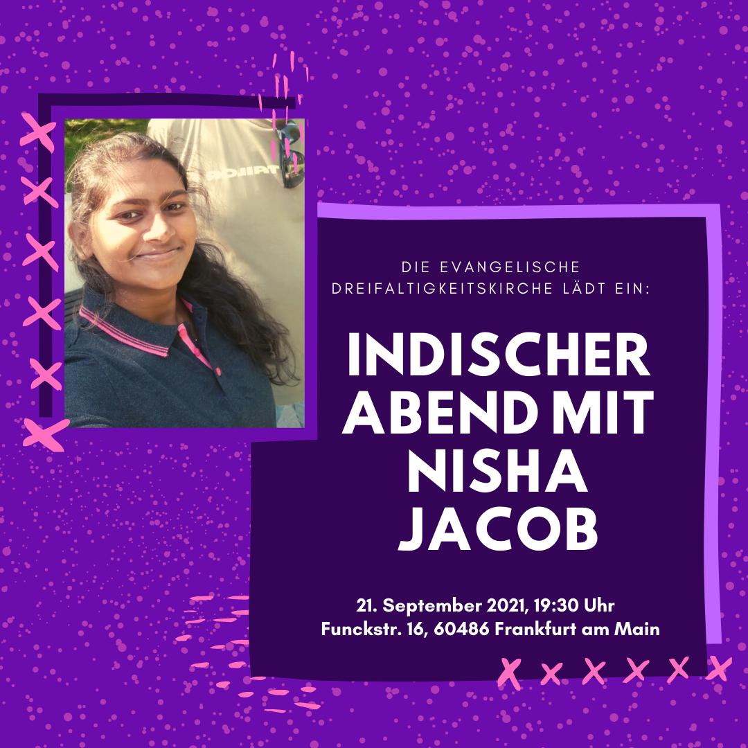 Indischer Abend mit Nisha Jacob @ Evangelische Dreifaltigkeitskirche
